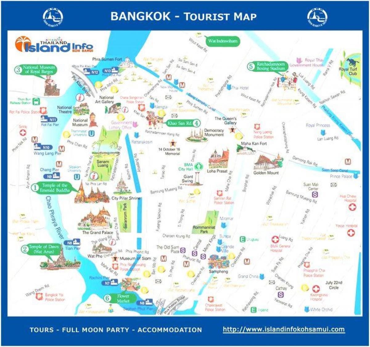 Bangkok peta wisata - Bangkok thailand tourist map (Thailand)